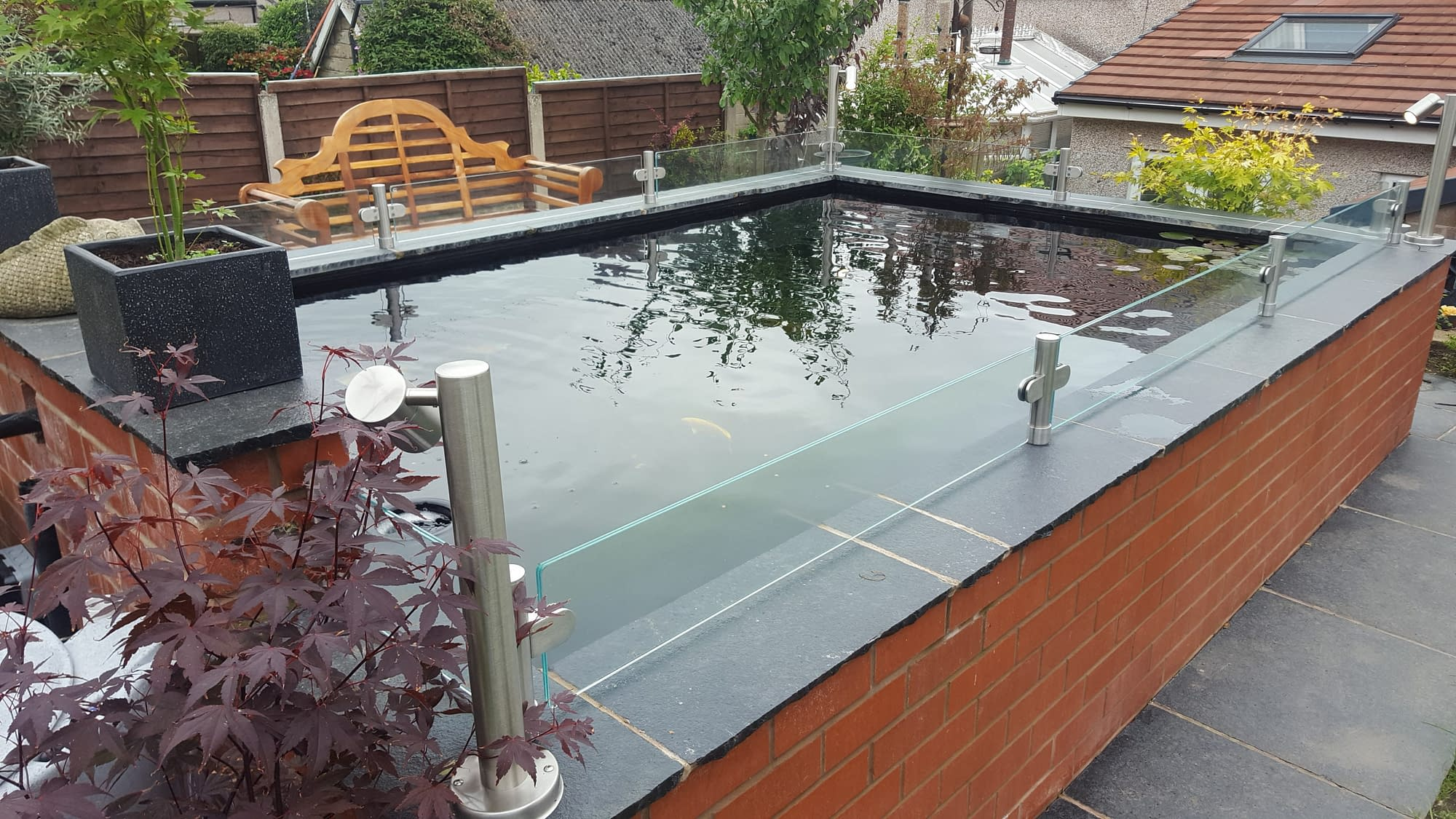 Bespoke Stainless Steel and Glass Pond Jump Guard
