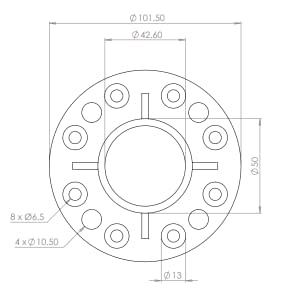 Technical Drawing for Stainless Steel Base Plate for Ø 42.4mm Post