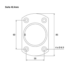 Technical Drawing for 42.4mm Square Edge Wall Flange