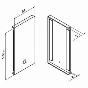 Technical Drawing of Left End Cap for Easy Glass Smart Channel, Fascia Fix