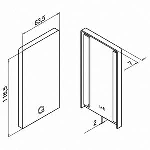 Technical Drawing of End Cap for Easy Glass Smart Channel