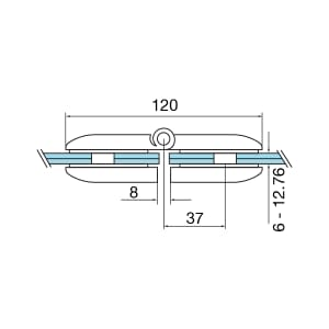 Technical Drawing for Grade 316 Stainless Steel Model 0282 Gate Hinge for Glass & Glass