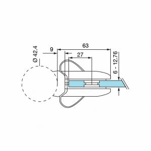 Technical Drawing for grade 316 Stainless Steel Model 0282 Gate Lock