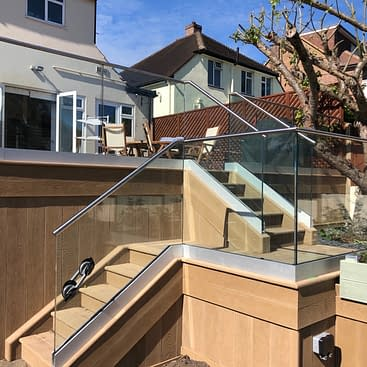 Frameless Aluminium Channel System on Wooden Decking