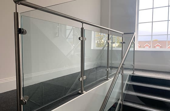 Grade 304 Stainless Steel Post & Rail Balustrade System on Residential Apartment Block Staircase